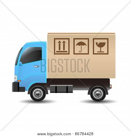 Delivery truck with a cardboard box. Vector illustration