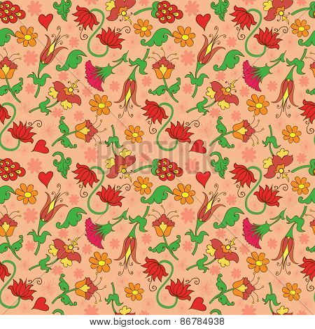Seamless Background With Floral Decorative Pattern