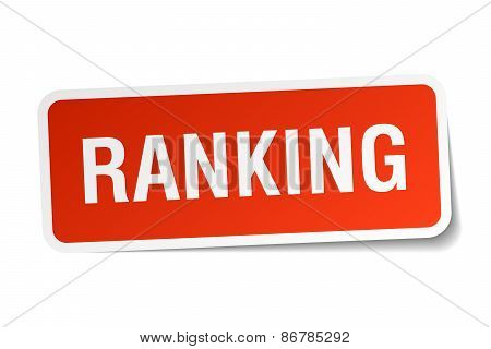 Ranking Red Square Sticker Isolated On White