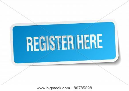 Register Here Blue Square Sticker Isolated On White