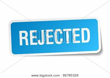 Rejected Blue Square Sticker Isolated On White