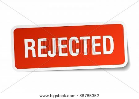 Rejected Red Square Sticker Isolated On White