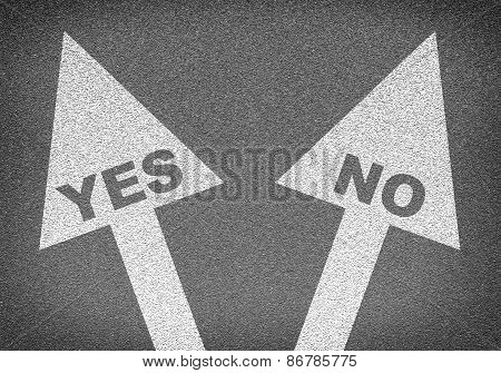 Asphalt road texture with two arrows. Labels YES and NO