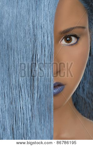 Beautiful Woman With Straight Blue Hair
