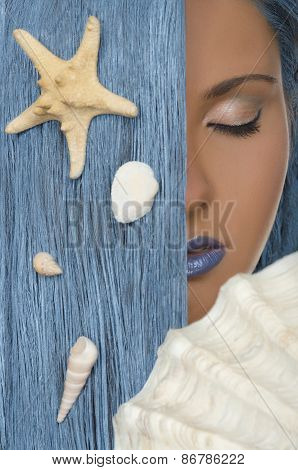 Woman With Blue Hair, Shells, Closed Eyes