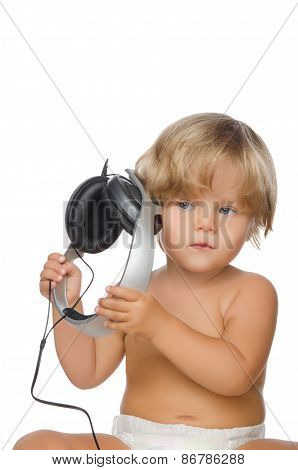 Attentive Child With Headphones