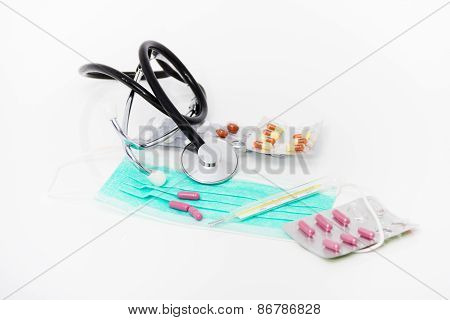 Set For Flu Treatment - Health And Medicine Concept