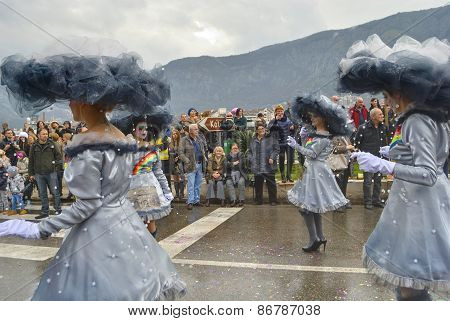 Parade of cloudy girls in carnival.