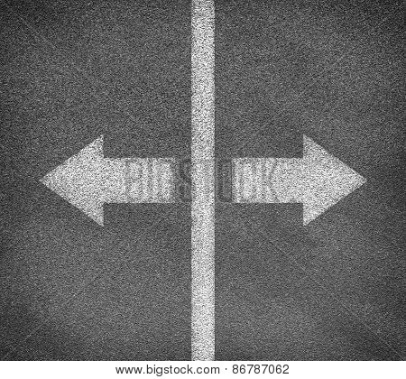 Asphalt road texture with two arrows and vertical line