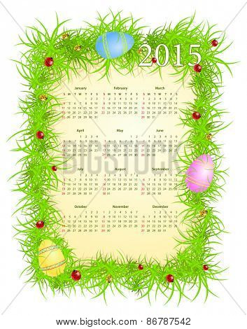 Vector illustration of American Easter calendar 2015, starting from Sundays
