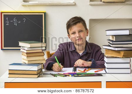 Junior student does homework.