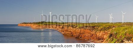 Panoramic view of wind power generators at North Cape, Prince Edward Island, Canada