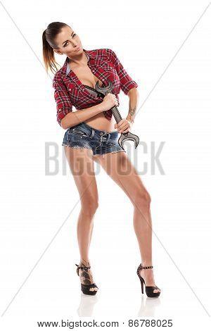 Nice Sexy Woman Mechanic Holding Wrench