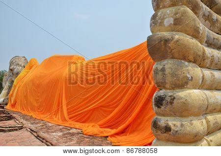 Wat Lokayasutharam. Temple Of Reclining Buddha In Ayutthaya, Thailand