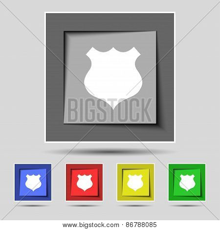 Shield Icon Sign On The Original Five Colored Buttons. Vector