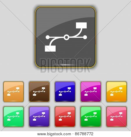 Bezier Curve Icon Sign. Set With Eleven Colored Buttons For Your Site. Vector