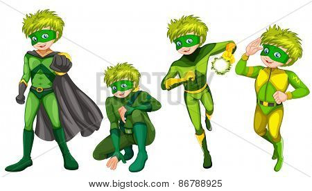 Green superhero wearing mask and boots