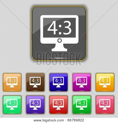 Aspect Ratio 4 3 Widescreen Tv Icon Sign. Set With Eleven Colored Buttons For Your Site. Vector