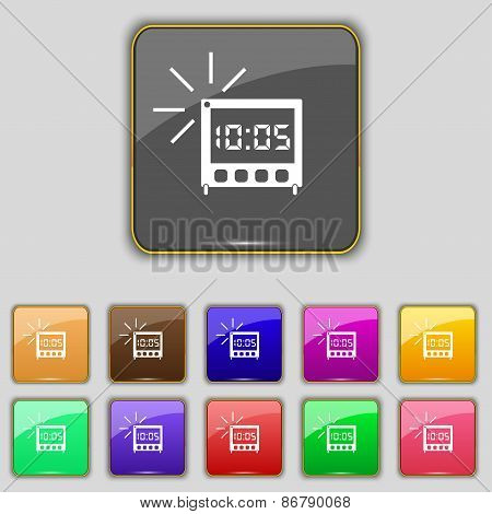 Digital Alarm Clock Icon Sign. Set With Eleven Colored Buttons For Your Site. Vector