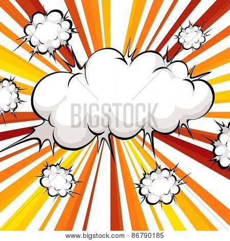 Cloud explosion with orange beam light