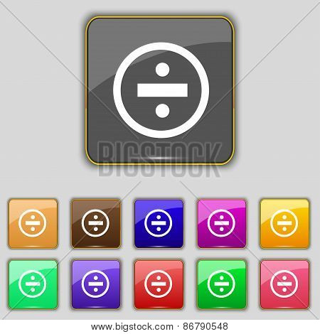 Dividing Icon Sign. Set With Eleven Colored Buttons For Your Site. Vector