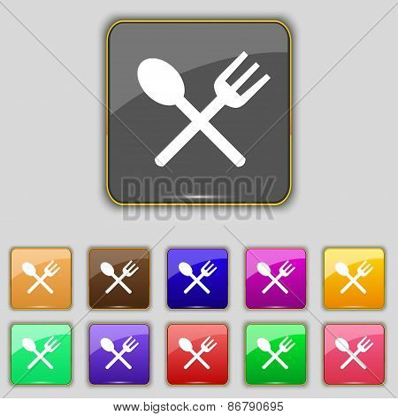 Fork And Spoon Crosswise, Cutlery, Eat Icon Sign. Set With Eleven Colored Buttons For Your Site. Vec