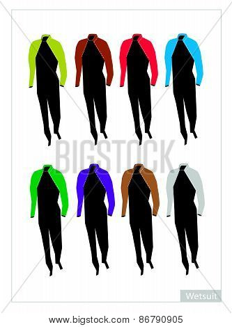 Set Of Wetsuit Or Diving Suit On White Background