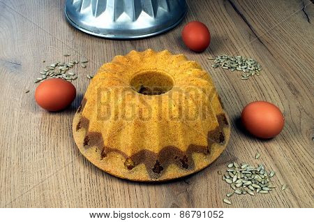Home Bundt Cake With A Form And Egg