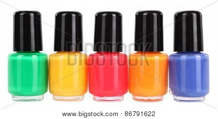 Nail polish colorful collection five colors variety