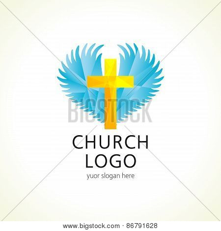 Church cross wings logo