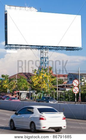View Of Blank Billboard Beside Street For Public Advertisement During People Transportation.