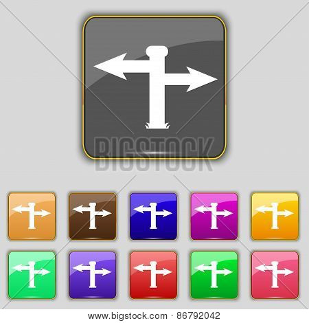 Blank Road Sign  Icon Sign. Set With Eleven Colored Buttons For Your Site. Vector
