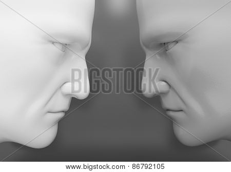 The two men confront each other