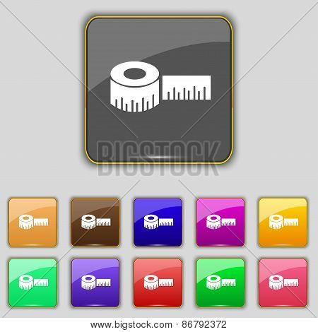 Roulette Construction Icon Sign. Set With Eleven Colored Buttons For Your Site. Vector