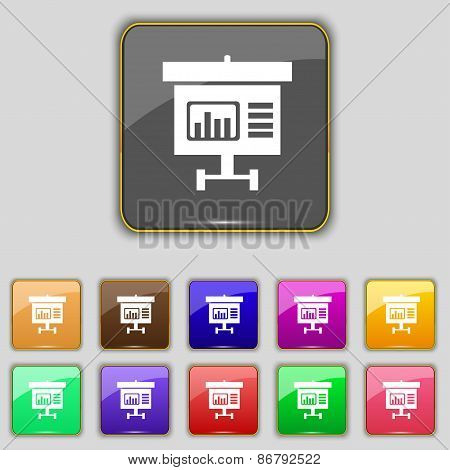Graph Icon Sign. Set With Eleven Colored Buttons For Your Site. Vector