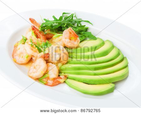 Restaurant Food Isolated - Shrimps In White Wine Garlic Sauce