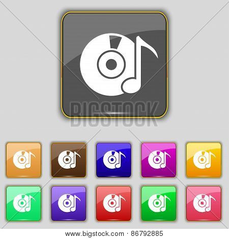 Cd Or Dvd Icon Sign. Set With Eleven Colored Buttons For Your Site. Vector