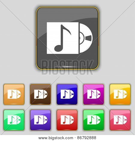 Cd Player Icon Sign. Set With Eleven Colored Buttons For Your Site. Vector