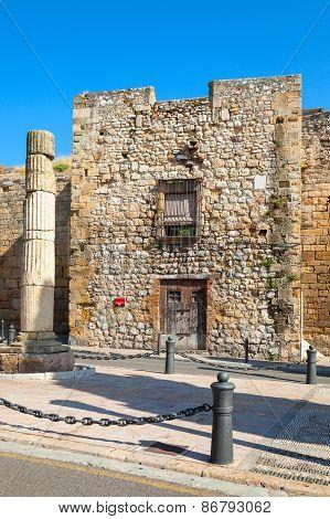 Ancient Roman Column In Tarragona City, Spain