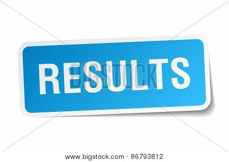 Results Blue Square Sticker Isolated On White