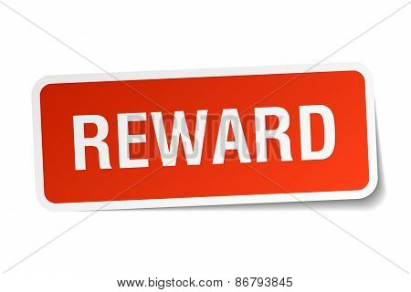 Reward Red Square Sticker Isolated On White