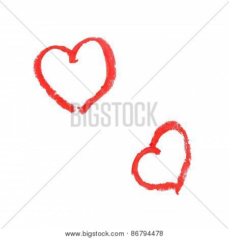 Two Drawing Hearts