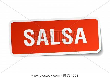 Salsa Red Square Sticker Isolated On White