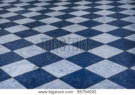 Blue And White Checkered Marble Floor