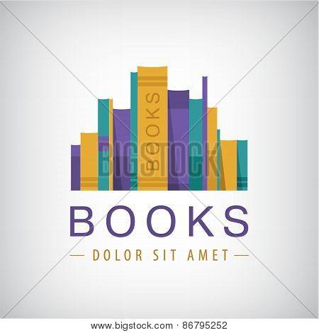vector colorful books icon