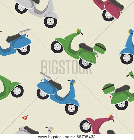Retro vintage seamless vector scooter pattern