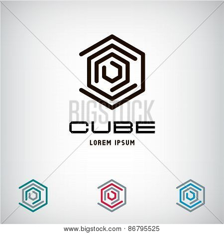 Technology Business abstract cube logo design template. Infinity. Vector Hexagon. Fashion Jewelry lu