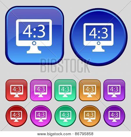 Aspect Ratio 4 3 Widescreen Tv Icon Sign. A Set Of Twelve Vintage Buttons For Your Design. Vector