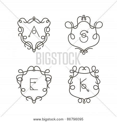 Set of monogram design templates, Elegant outline logo design elements