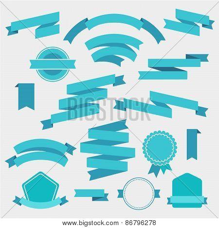 vector set of blue empty retro ribbons